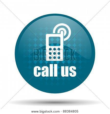 call us blue glossy web icon