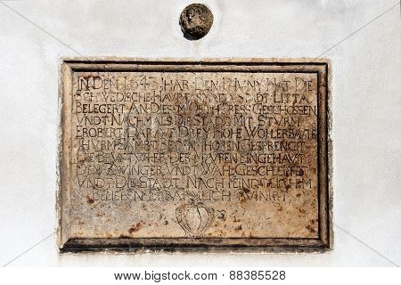 A commemorative plaque as a reminder of conquest Litovel by the Swedes in 1643