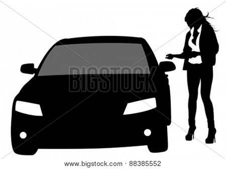 Women at door of car on a white background