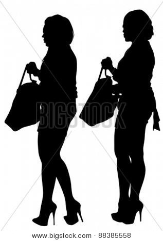 Young women in dress whit bag on white background