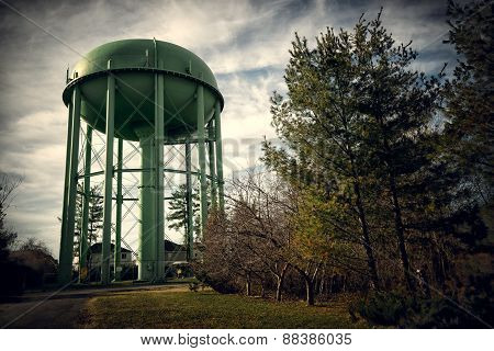 Tall Green Old Water Tower