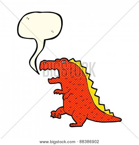 cartoon dinosaur with speech bubble