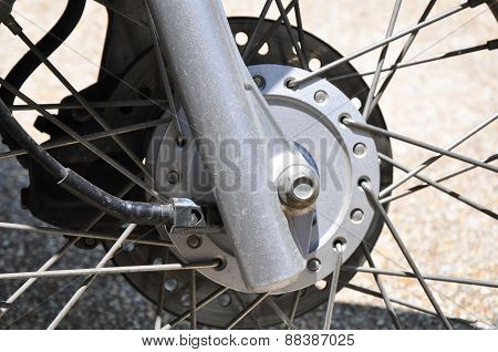 Close up detail of a motorcycle wheel