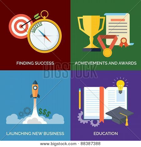 Set Of Flat Design Concept Icons For Business. Finding Success, Achievements And Awards, Launching N