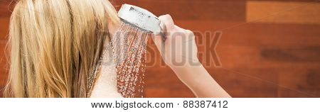 Blonde Woman Taking A Shower