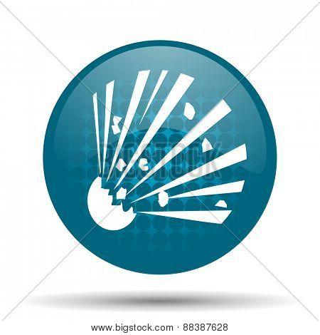 bomb blue glossy web icon