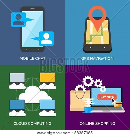 Set Of Flat Design Concept Icons For Business. Mobile Chat, Gps Navigation, Cloud Computing And Onli