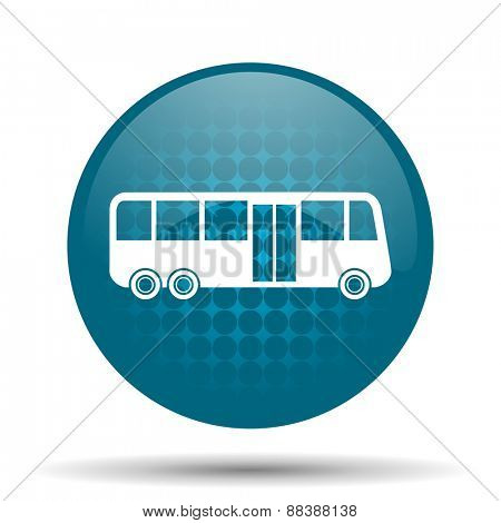 bus blue glossy web icon