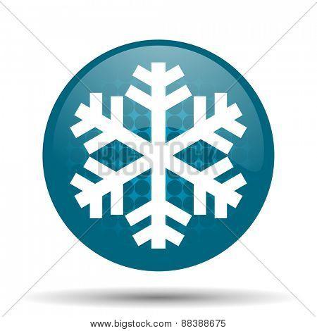 snow blue glossy web icon