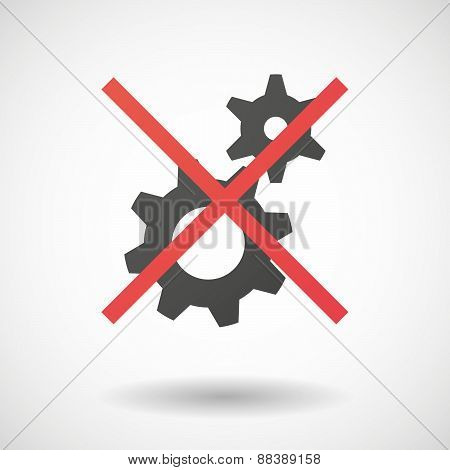 Not Allowed Icon With Gears
