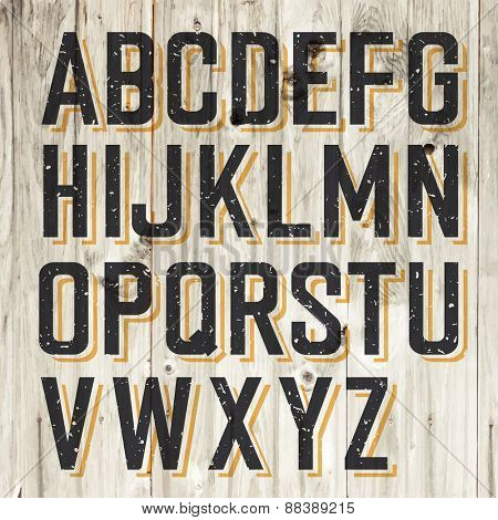 Retro Styled Alphabet on Wooden Background