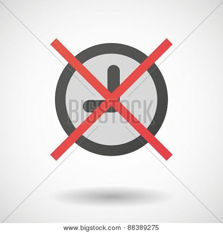Not Allowed Icon With A Clock