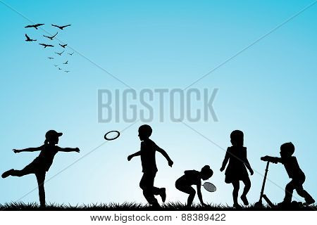 Kids Silhouettes Playing Outdoor