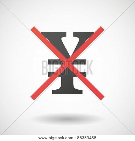 Not Allowed Icon With A Yen Sign