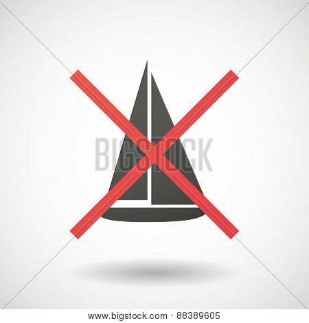 Not Allowed Icon With A Ship