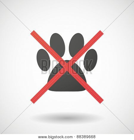 Not Allowed Icon With An Animal Footprint