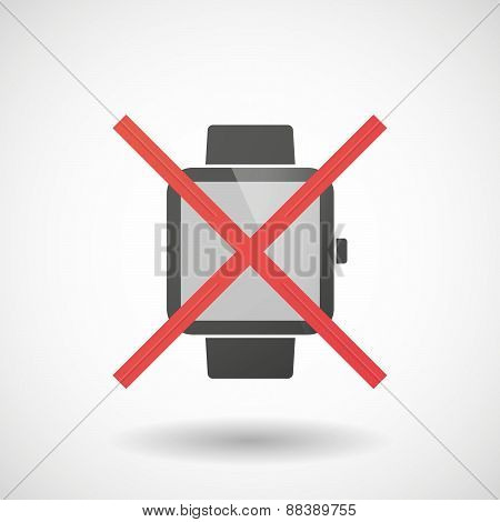 Not Allowed Icon With A Smart Watch