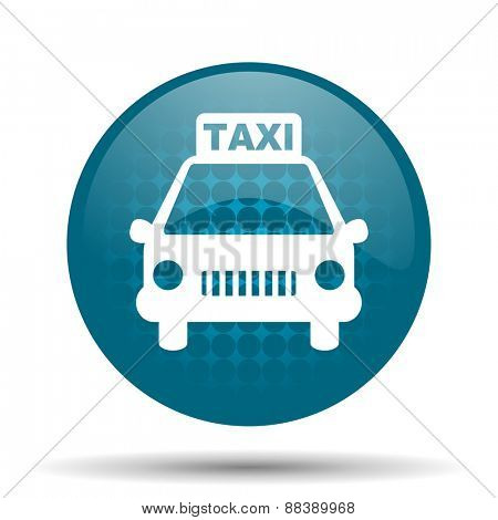 taxi blue glossy web icon
