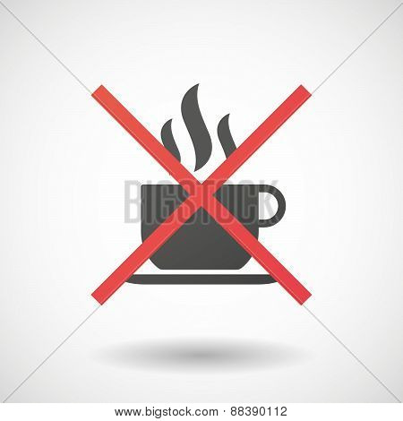 Not Allowed Icon With A Cup Pf Coffee