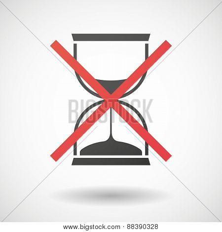 Not Allowed Icon With A Sand Clock