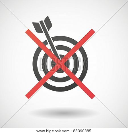 Not Allowed Icon With A Dart Board
