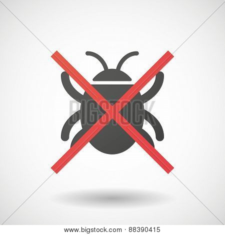 Not Allowed Icon With A Bug