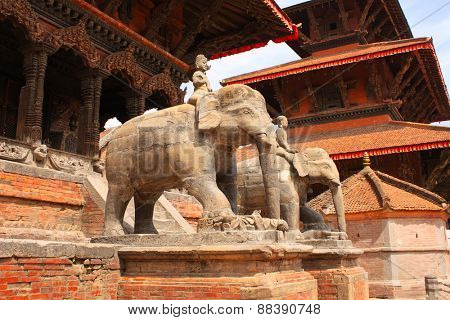 Statues of elephants in Bhaktapur, Kathmandu valley, Nepal. UNESCO World Heritage site