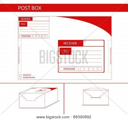 Parcel Box Package Label Red Postman Postoffice Concept