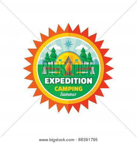 Expedition camping summer - vector badge illustration in flat style. Adventure summer vector logo.