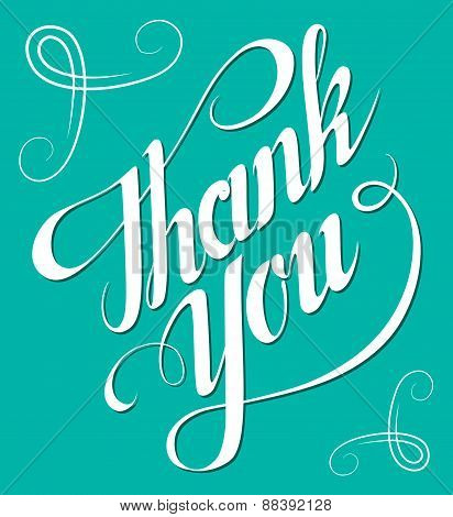 Thank You hand lettering. Handmade calligraphy vector eps8