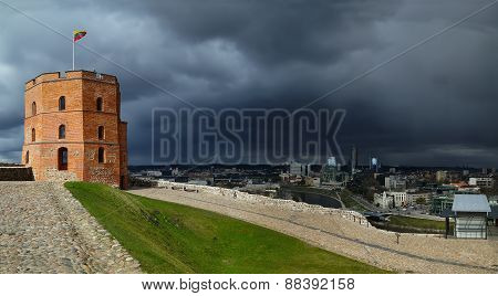 Gediminas Tower On A Stom Sky Background
