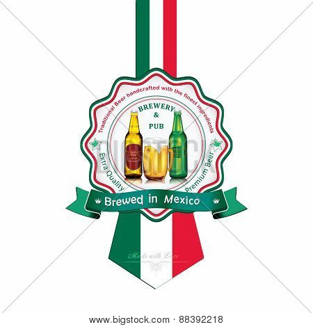Brewed in Mexico - Beer sticker advertising