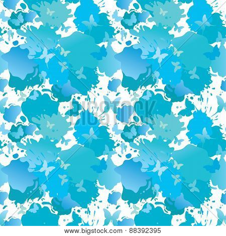 Water Color Blue Grunge Seamless Background With Butterflies Drops And Blots. Summer Season Pattern