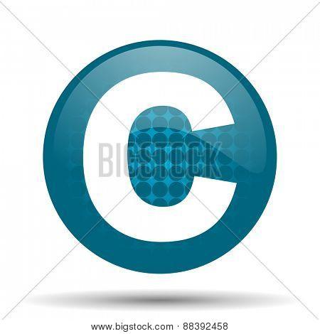 copyright blue glossy web icon