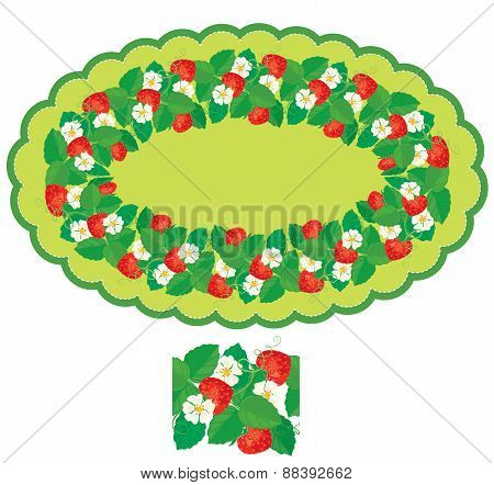 Oval Frame With Strawberries, Flowers And Leaves Isolated On White Background. Repeated Element For