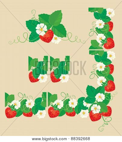 Rectangular Frame Ornament With Strawberries In Heart Shapes With Flowers And Leaves Isolated On Gra