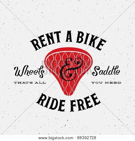 Bike Rental Retro Vector Label or Logo Template