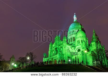 The Basilica of Sacre Coeur in Montmartre, Paris at night