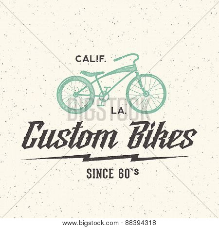 Custom Bicycle Retro Vector Label or Logo Template