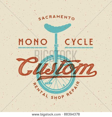 Mono-Cycle Custom Rental Shop and Repair Retro Vector Label or Logo Template