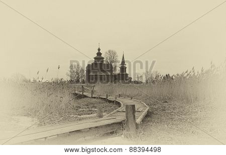 Old Wooden Church Of St. John The Evangelist On Ishna - The River (1689), Russia. Stylization Under