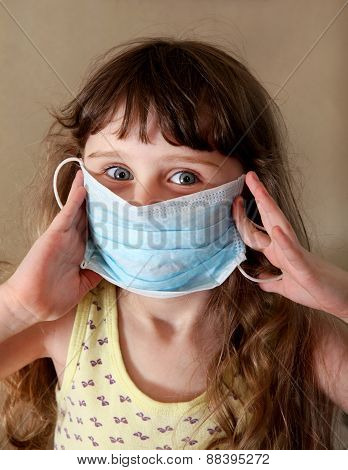 Little Girl In The Flu Mask