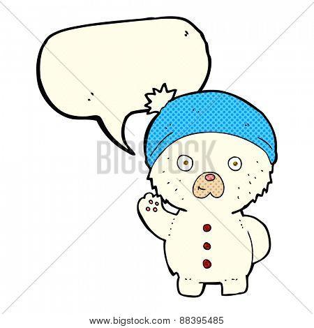 cartoon waving polar teddy bear in winter hat with speech bubble