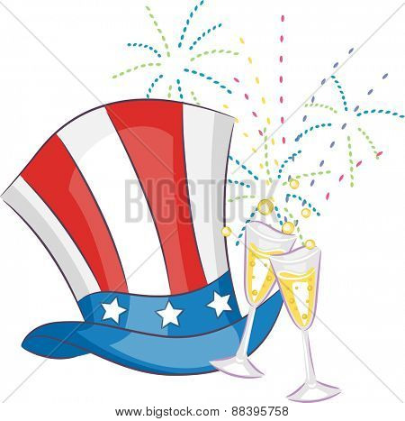 Fourth of July Illustration Featuring a Top Hat and Glasses of Champagne