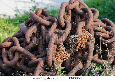 Old rusty chain.