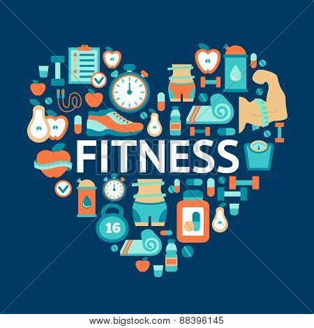 Heart symbol with fitness flat icons