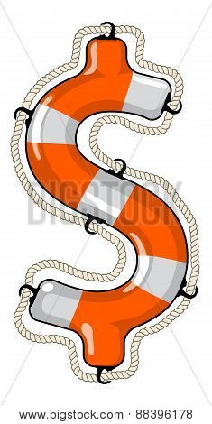 Dollar Sign Isolated Lifebuoy