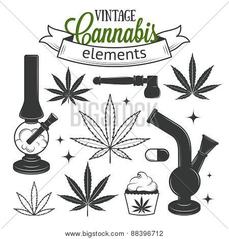 Set of medical cannabis elements