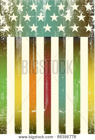 Multicolor textured american flag. An american rainbow color flag for a background of a poster.