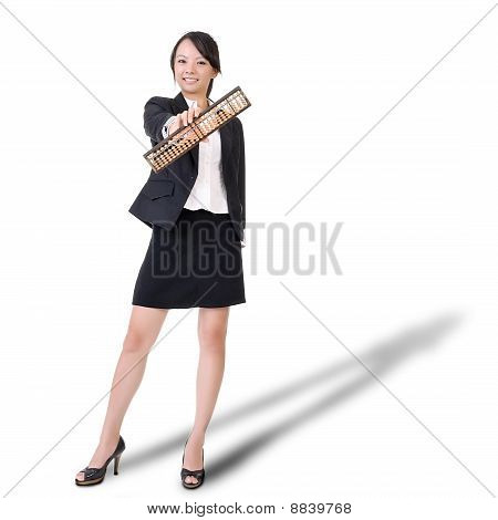 Chinese Business Lady Holding Abacus